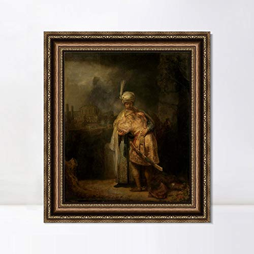 (INVIN ART Framed Canvas Art Giclee Print Biblical Scene by Rembrandt Harmenszoon Van Rijn Wall Art Living Room Home Office Decorations(Vintage Embossed Gold Frame,24