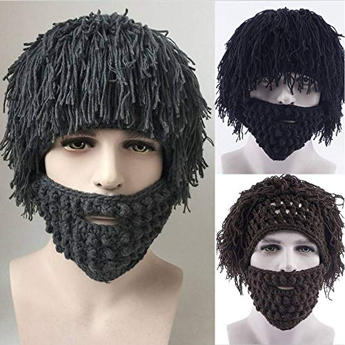 (YULong Winter Warm Beard Hat Moustache Cospaly Barbarian Looter Knit Crochet Beanie Cap Mad Scientist Caveman (Gray,One)