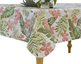 Large Round Dining Table Elrene Home Fashions Vinyl Tablecloth with Polyester Flannel Backing Tropical Leaf Easy Care Spillproof, 70