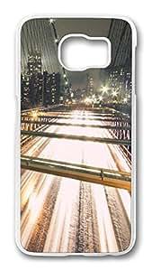Brian114 Case, S6 Case, Samsung Galaxy S6 Case Cover, Brooklyn Bridge Nigh Retro Protective Hard PC Back Case for S6 ( white )