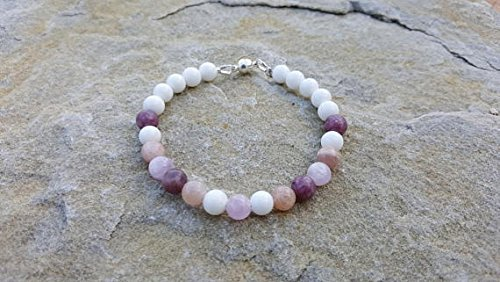 JP_Beads Anxiety Healing & Calming - Lepidolite,Sunstone, Kunzite,White Agate - Healing Bracelet 8mm Gemstones, Healing - Kunzite Necklace White
