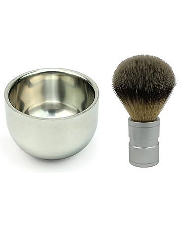 PIXNOR pelo de tejón brocha de afeitar con doble capa cuenco de afeitado de
