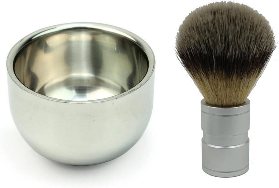 PIXNOR pelo de tejón brocha de afeitar con doble capa cuenco de afeitado de acero inoxidable Set