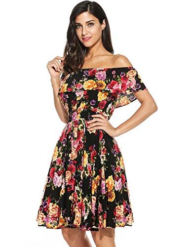 floral para Vestidos Verano Meaneor mini barco para corta Cuello Manga Negro mujer Y1xOqnO