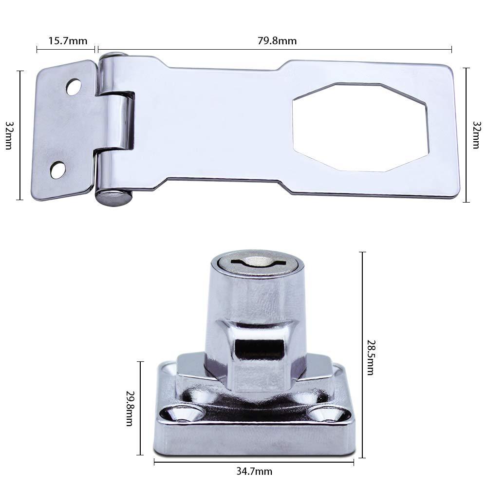 JaneYi Cromado Hardware para Cerrar Cobertizo Puertas Gabinetes Cajas Mueble Cerrojo de Metal 80mm Hebilla del Pestillo de La Puerta con Candado y Llave 2 Piezas