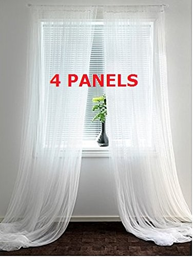 Ikea Mesh Lace Curtains, 110 Inch By 98 Inch, 2 Pairs, White