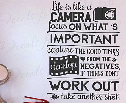 Life Is Like A Camera Focus On Whats Important Capture Good Times Develop The Negatives Things Dont Work Out Take Another Shot - Motivational Inspirational - Decorative Vinyl Wall Decal Lettering Art Decor Quote Design Sticker Saying Decoration by Decals for the Wall