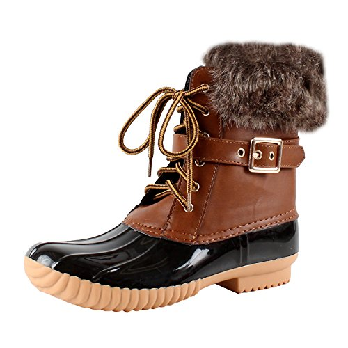 Nature Breeze Duck-01 Women's Chic Lace Up Buckled Duck Waterproof Snow Boots,Tan,8