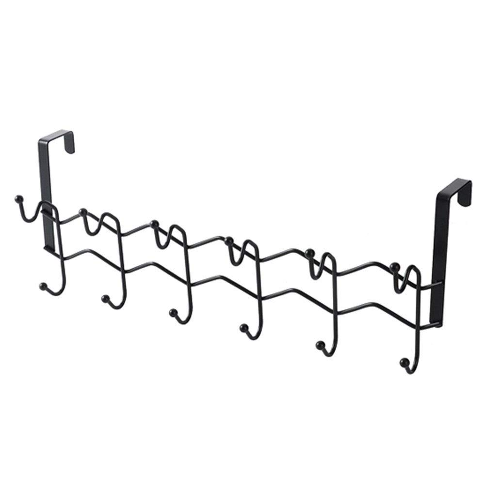 Chenjinxiang01 Hook Behind The Door, Free of Perforated Door Back Racks, Bedroom Clothes Hanger Door Hook, Bathroom Bathroom Wall Hanger (6hooks) (Color : Black)