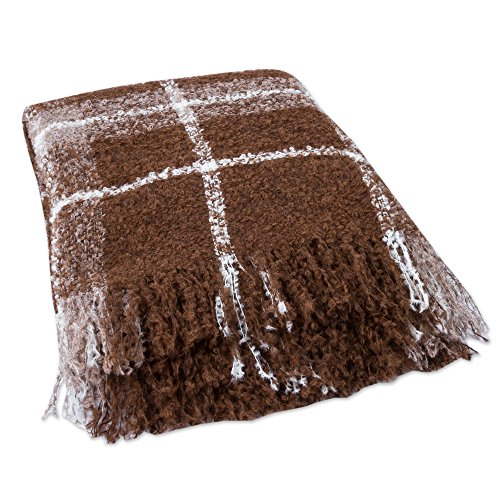 (NOVICA PT078 Chocolate Plaid Boucle' Alpaca Blend Throw)