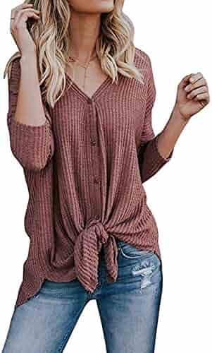 Chvity Womens Waffle Knit Tunic Blouse Tie Knot Henley Tops Loose Fitting Bat Wing Plain Shirts