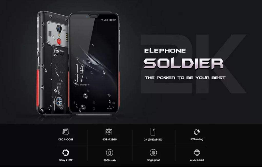 ELEPHONE SOLDIER 4G Móvil Todoterreno Libre, 4GB + 128GB, Helio ...