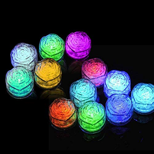 Simulation Ice Cube - 12pcs Plastic Multi-Color Luminous Ice Cube with Colorful Light for Halloween Party Wedding Club Bar Champagne Tower Decoration (24PCS) by CLOVERHOME (Image #2)