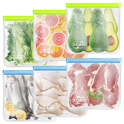 Reusable Storage Bags - EXTRA THICK Freezer bags Reusable Gallon Bags & Reusable Sandwich Bags & Reusable Snack Bags FDA Grade Leakproof lunch bag for Food Travel Items