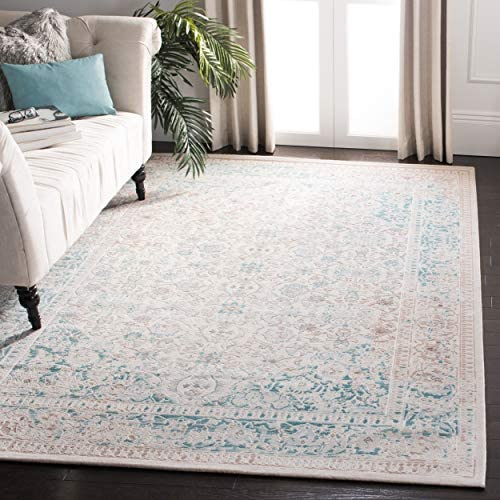 Safavieh Passion Collection PAS405B Oriental Vintage Watercolor Turquoise and Ivory Distressed Area Rug 9 x 12