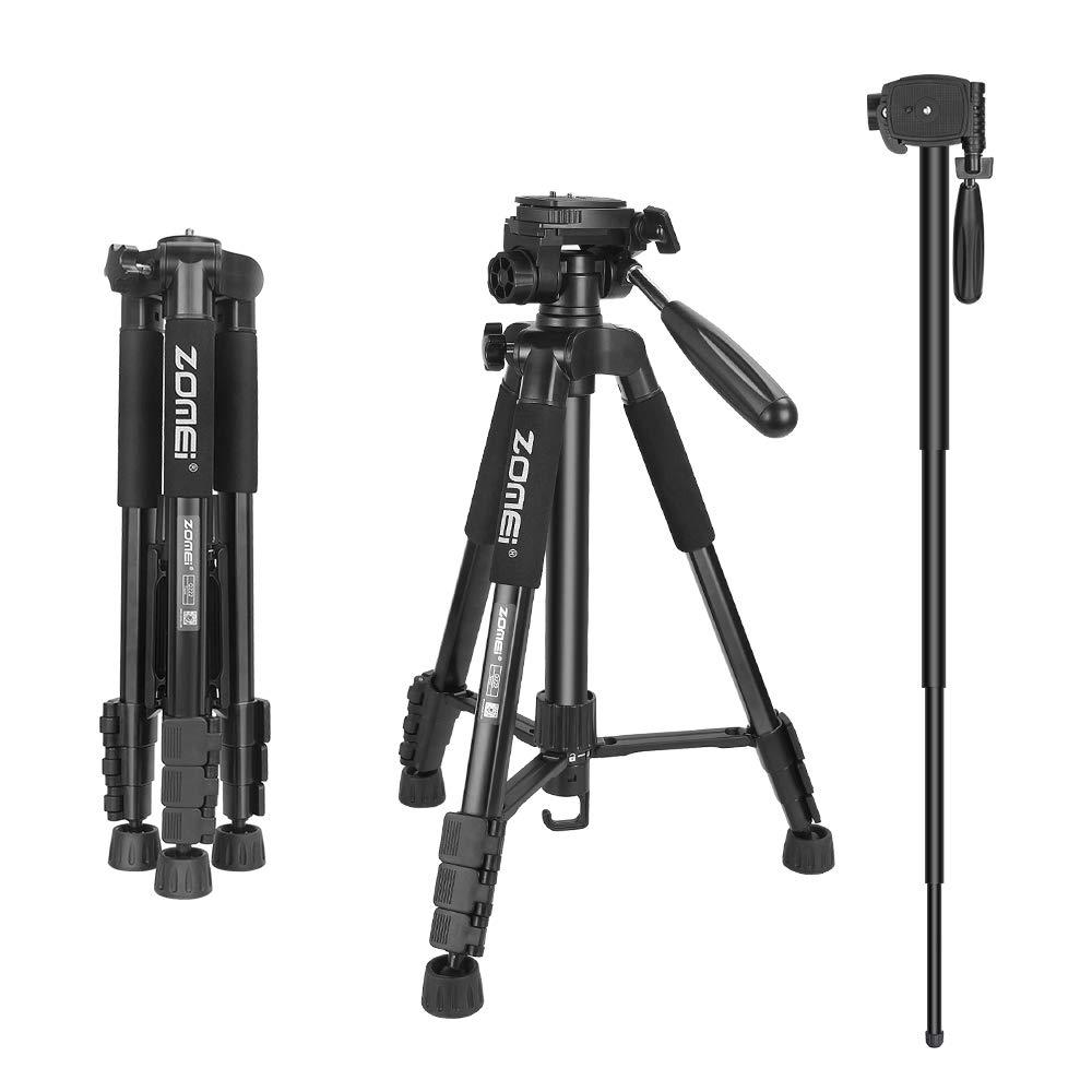 ZOMEi Travel Tripod 2-in-1 Aluminum Alloy Camera Tripod Portable Monopod for DSLR Canon Nikon Sony SLR, Phone Video and DV Video Camcorder by ZoMei