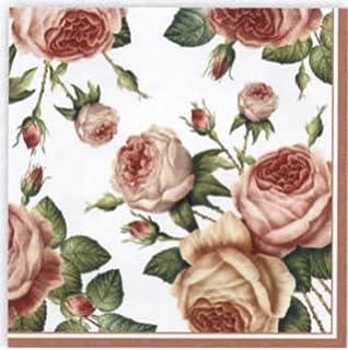 33 x 33cm Pack of 4 Napkins Great for Decoupage // Napkin Art Rose