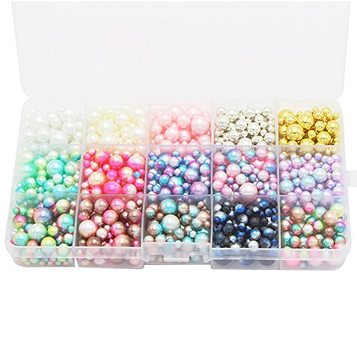 Beads 1140pcs/lot Mix Rainbow Color Round 4/6/8/10mm Imitation Pearl No Holes (Style 1) ()