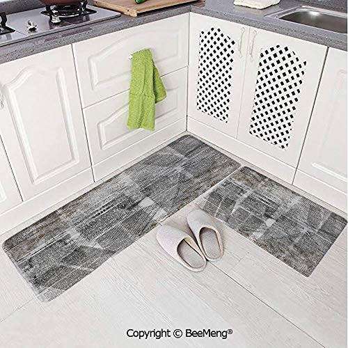 2 Piece Indoor Modern Anti-Skid Carpet Printed Block Bathroom Carpet,Old Newspaper Decor,Dirty Grunge Page with Overlapping Texts Shabby Look Press,Silver Black -