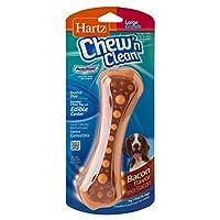 Hartz Chew 'n Clean Dental Duo Juguete para perros dental con sabor a tocino y masticable - Grande