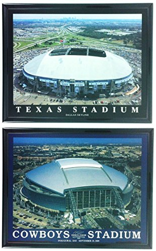 (Framed Dallas Cowboys Texas football AT&T Stadium Old and New Prints - SET OF 2)