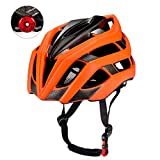 KUYOU Adult Cycling Bike Helmet with Safety Light Adjustable Ultralight Stable Road/Mountain Bike Cycle Helmets For Mens Womens Adjustable 56cm – 61cm Orange