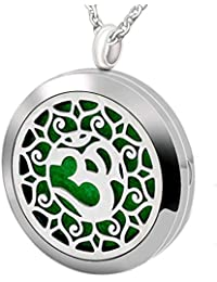 Essential Oil Diffuser Necklace Stainless Steel Aromatherapy Pendant Jewelry Set Gift for Women Men Boys Girls...