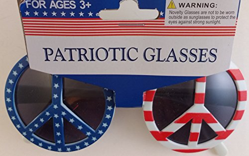 Patriotic Novelty Peace Sign Shape Sun Glasses (Red, White and - Sign Sunglasses