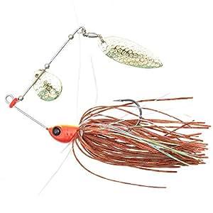 Trulinoya 1/4oz Feather Aurantius Spinner Bait Willowleaf Blade & Colorado Blade for Lures Bass Walleye Pike Fishing Spinnerbait