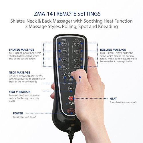 Zyllion ZMA14 Shiatsu Neck & Back Massager Cushion with Soothing Heat Function And 3 Massage Styles Rolling, Spot, and Kneading (Black) One Year Warranty by Zyllion (Image #8)