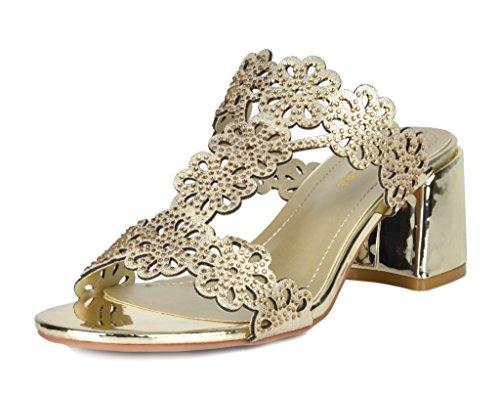 DREAM PAIRS Women's Duchess_02 Gold Fashion Block Slides Heeled Sandals Size 8 B(M) US