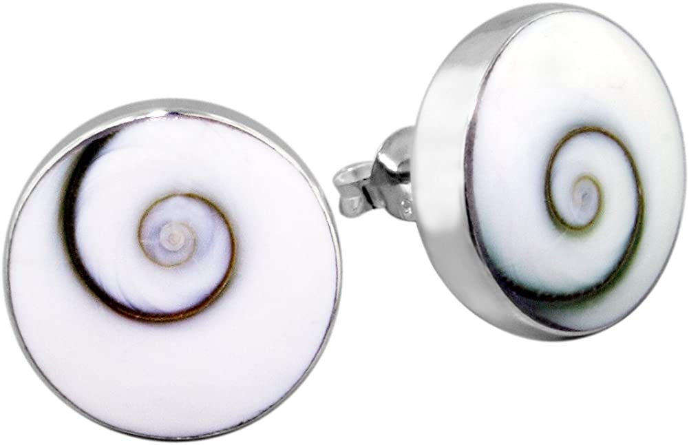 Round Red Swirl Shiva Shell .925 Sterling Silver Post Earrings