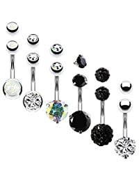 BodyJ4You 6PCS Belly Button Rings 6 Replacement Balls 14G Steel Multicolor CZ Created-Opal Navel Set
