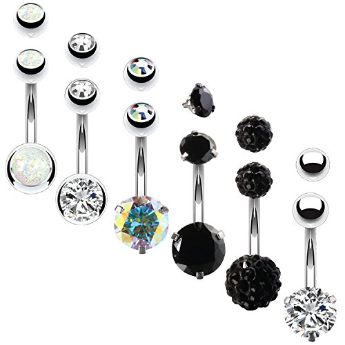 BodyJ4You 6PCS Belly Button Rings 6 Replacement Balls 14G Black Steel Aurora CZ Navel Body Jewelry