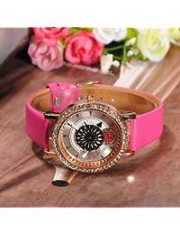 Rhinestone Dynamic Flower Dial Leather Women Quartz Wrist Watch.