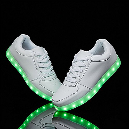 Charles Albert Usb-laddning Ledde Lyser Skor Sport Dans Sneakers Vita