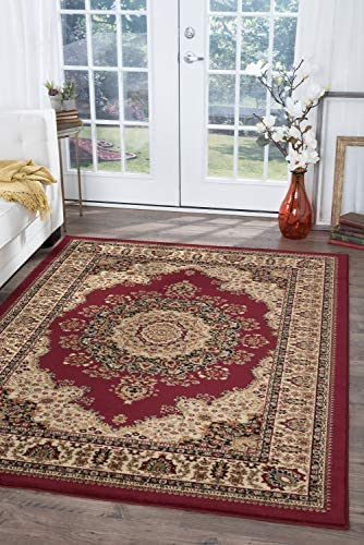 Fiona Traditional Oriental Red Rectangle Area Rug, 9 x 12