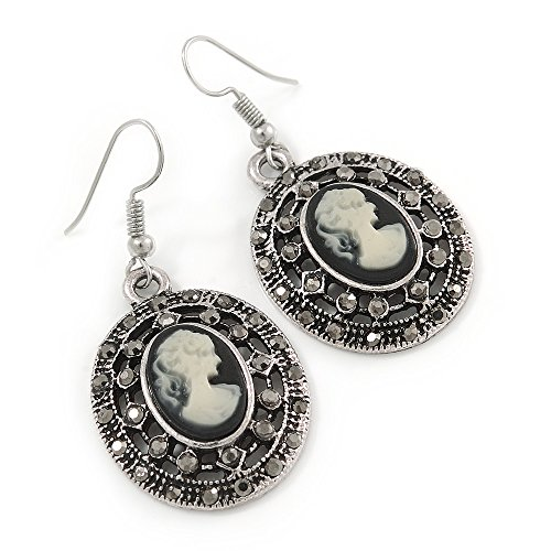 - Vintage Inspired Oval, Hematite Grey Crystal Cameo Drop Earrings In Antique Silver Tone - 45mm L