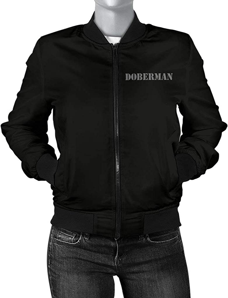 Safe with a Doberman Womens Bomber Jacket