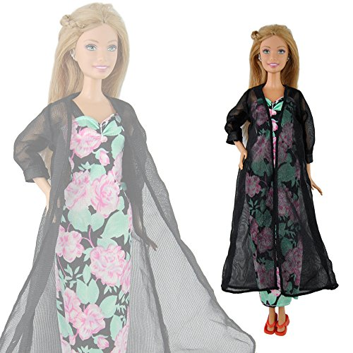 E-TING Handmade Pajamas Nightie Night Gown Dress  Robe Outfit For Barbie Doll K