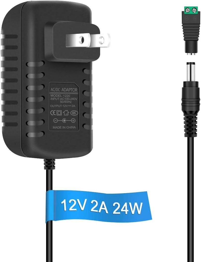 LightingWill LED Power Supply Output 12V DC 2A Max Power Adapter 24 Watt Max Power Supply for LED Strip Light AC 100-240V to DC 12V Transformers