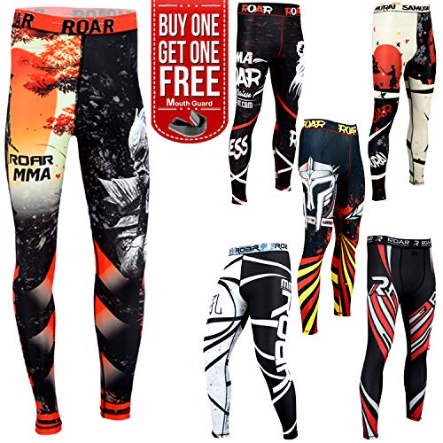 Roar MMA Thermal Compression Pants Gym Workout Running Grappling Exercise Spats (Warrior, Medium)]()