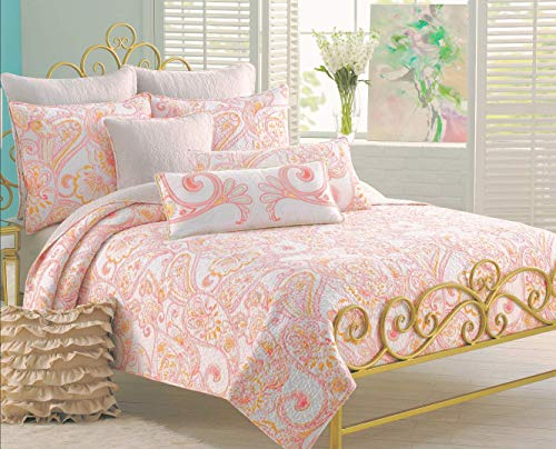 Cozy Line Home Fashions Adalynn Bedding Quilt Set, Orange Pink White Flower Floral Paisley 100% Cotton Reversible Coverlet Bedspread, Gifts for Girl (Passion Paisley, Queen - 3 Piece)