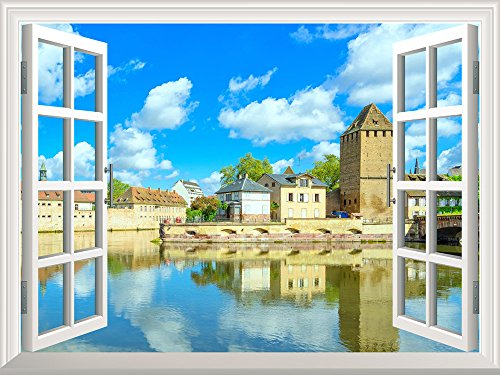 Removable Wall Sticker Wall Mural Peaceful River in a Quiet Town Creative Window View Wall Decor