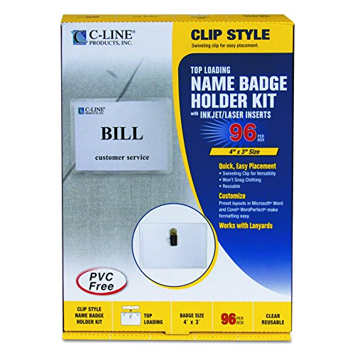 (C-Line Name Badge Kit with Inserts, Clip Style, Top Load, 4