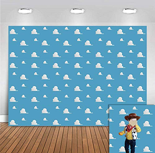 White Clouds Concise Theme Photo Backgrounds Vinyl for Children Birthday Supplies Blue Photography Backdrops for Newborn Baby Shower Party Banner Event Decoration Photobooth Props Cake Table