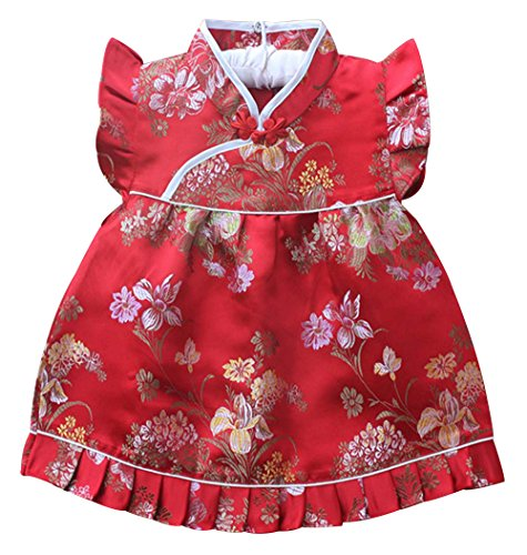 Baby Toddler Kids Girls Qipao Chinese New Years 2016 Asian Dress Costume Set Outfit (6 to 12 Months, Red Blossom Flowers) (Chinese Dress Dresses Chinese)
