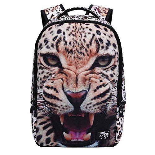 Beige Tiger Print - Runningtiger Unique 3D Animal Print Basic Multipurpose Backpacks For Teenagers Kids Schoolbags Travel Bags Laptop Backpacks (B1005 3D leopard)