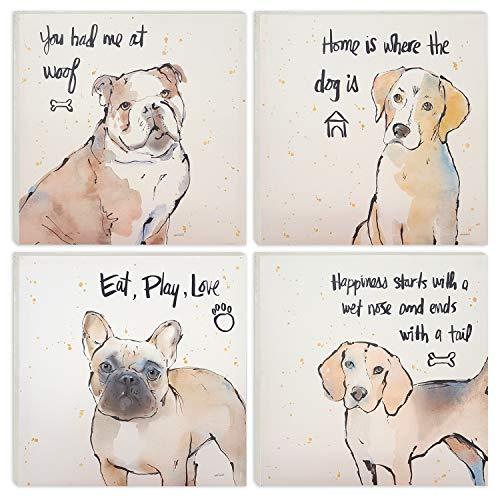 - DJ Art - Cute Dogs Canvas Painting Wall Art Set - Yellow Dog Print Paintings - Modern Home Wall Decor Ready to Hang 16''x16''x4 Panels