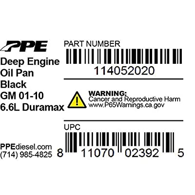 PPE High-Capacity Aluminum Deep Engine Oil Pan (Black) 114052020 Compatible with 2001-2010 Chevy/GMC 6.6L Duramax Diesel: Automotive